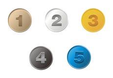 1,2,3,4,5 moedas Imagem de Stock