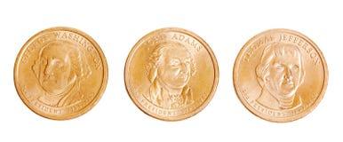 Moedas americanas com presidentes Fotos de Stock Royalty Free