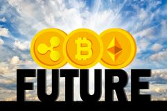 Moedas Bitcoin, Ethereum, ondinha no futuro da palavra Foto de Stock Royalty Free