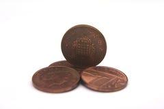 Moedas BRITÂNICAS da moeda de um centavo Fotos de Stock