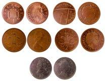 Moedas britânicas velhas diferentes Fotografia de Stock Royalty Free