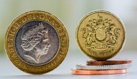 Moedas britânicas Imagens de Stock