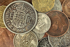 Moedas britânicas velhas Fotografia de Stock Royalty Free