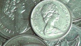 Moedas, Canadá, canadense, dinheiro, moeda video estoque