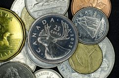 Moedas canadenses do close-up fotografia de stock royalty free