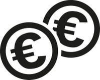 Moedas com euro- sinais ilustração royalty free