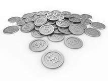Moedas com sinal de dólar, dinheiro Fotografia de Stock