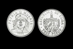 Moedas cubanas de três pesos com a cara de Che Imagem de Stock