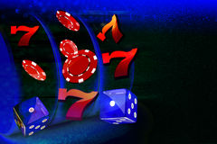 Moedas, dólares, microplaquetas, dados que voam para fora o formulário um slot machine do casino Imagem de Stock