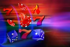 Moedas, dólares, microplaquetas, dados que voam para fora o formulário um slot machine do casino Fotos de Stock Royalty Free