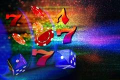 Moedas, dólares, microplaquetas, dados que voam para fora o formulário um slot machine do casino Fotos de Stock