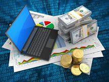 moedas 3D Fotografia de Stock Royalty Free
