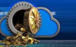 moedas 3d douradas sobre o cyber Fotos de Stock Royalty Free