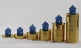 Moedas 3d-illustration do dinheiro do dinheiro das casas ilustração royalty free