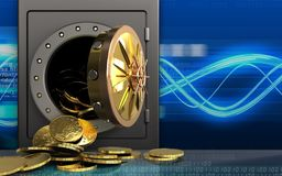 moedas 3d sobre ondas digitais Foto de Stock Royalty Free