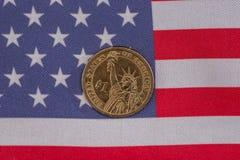 moedas da bandeira americana e do centavo, conceito do nacionalismo Fotografia de Stock