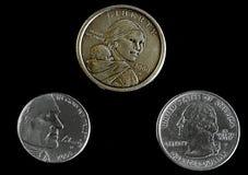 Moedas da denominação diferente que mostram a cara Imagem de Stock Royalty Free