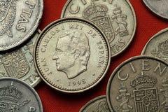 Moedas da Espanha Rei Juan Carlos mim Imagem de Stock Royalty Free