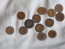 Moedas da lira italiana, Itália Fotografia de Stock