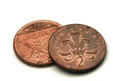 Moedas da moeda de um centavo do Reino Unido 2 Fotografia de Stock