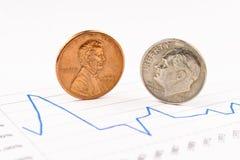 Moedas da moeda de um centavo e da moeda de dez centavos que estão na carta Imagens de Stock