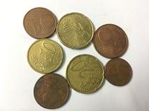 Moedas da moeda do Euro imagem de stock royalty free