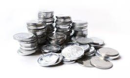 Moedas da rupia no fundo branco Imagens de Stock Royalty Free