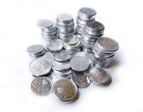 Moedas da rupia no fundo branco Foto de Stock Royalty Free