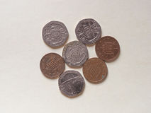 Moedas das moedas de um centavo, Reino Unido Foto de Stock