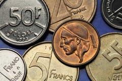 Moedas de Bélgica Fotografia de Stock Royalty Free