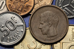Moedas de Bélgica Fotos de Stock Royalty Free