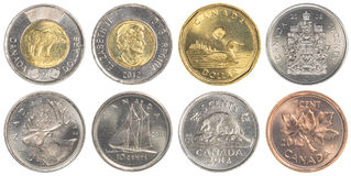Moedas de circulação do dólar canadense Fotos de Stock Royalty Free