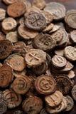 Moedas de cobre antigas da vista superior bizantina Imagem de Stock Royalty Free