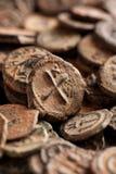 Moedas de cobre bizantinas antigas com cruz Fotografia de Stock Royalty Free