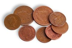 Moedas de cobre britânicas, isoladas fotografia de stock