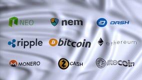 Moedas de Cryptocurrencies, digitais e alternativas, usando o cryp fotos de stock royalty free