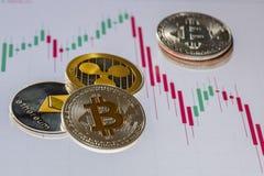 Moedas de Cryptocurrency sobre a tela de troca do gráfico das velas; Bitcoi fotos de stock royalty free