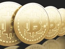 moedas de 3d Bitcoin Conceito de Cryptocurrency Foto de Stock