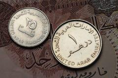 Moedas de Emiratos Árabes Unidos Foto de Stock