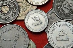 Moedas de Emiratos Árabes Unidos Fotografia de Stock