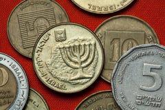 Moedas de Israel menorah fotografia de stock royalty free