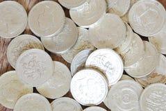 Moedas de libra britânica Foto de Stock