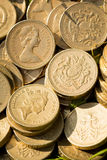 Moedas de libra inglesas Fotos de Stock Royalty Free
