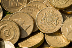 Moedas de libra inglesas Imagens de Stock Royalty Free