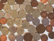 Moedas de libra, Reino Unido Foto de Stock Royalty Free