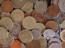 Moedas de libra, Reino Unido em Londres Imagem de Stock Royalty Free