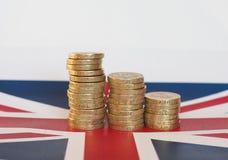 Moedas de libra, Reino Unido sobre a bandeira Foto de Stock