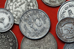 Moedas de Nepal Foto de Stock