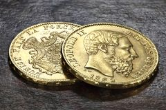 Moedas de ouro belgas Foto de Stock Royalty Free
