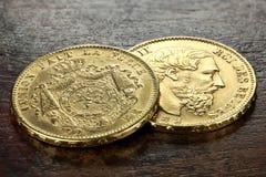 Moedas de ouro belgas Imagem de Stock